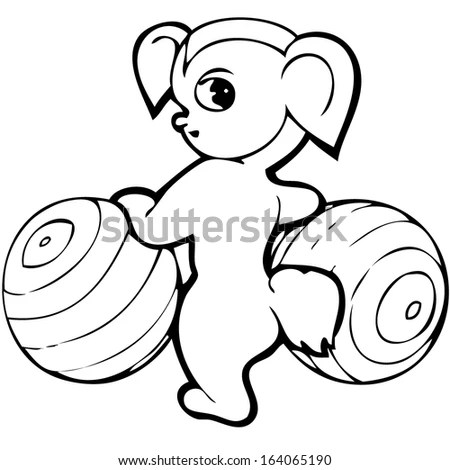 Vector Funny Monkey Illustration Coloring Page Stock