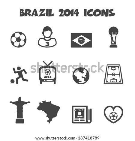 Brazil 2014 Icons Mono Vector Symbols Stock Vector
