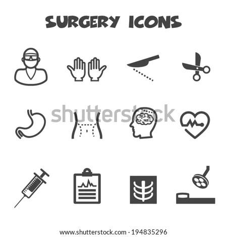 Surgery Icons Mono Vector Symbols Stock Vector 194835296