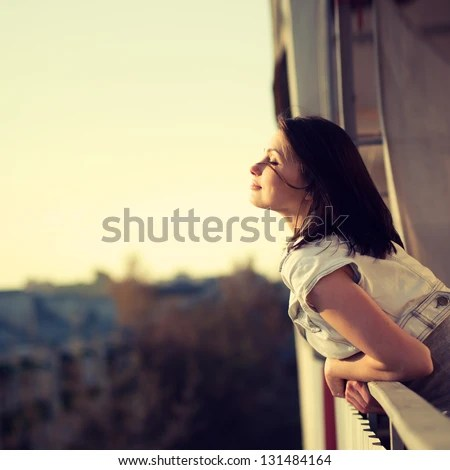 beautiful girl enjoying the freshness - stock photo