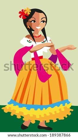 Mexican Girl Vector Illustration Cartoon Style Stock