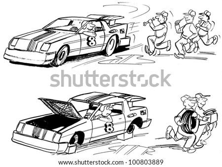 Race Car Driver Thinks Mechanics Going ภาพประกอบสต็อก