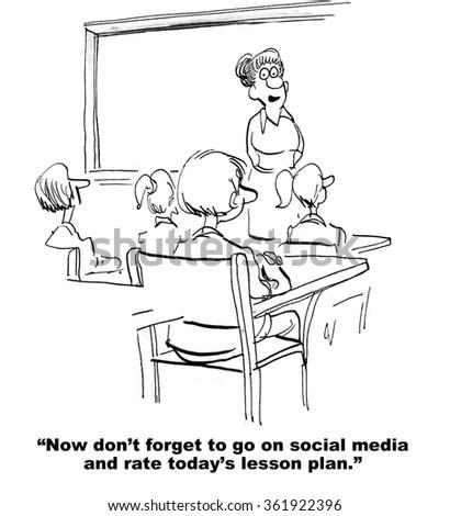 Education Cartoon Teacher Reminds Class Go Stock