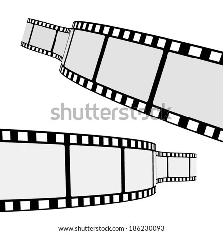 Set Two Blank Cinema Film Strip Stock Vector 186230093