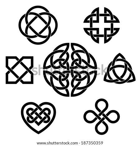 Variety Celtic Knots Set Seven Traditional Stock Vector