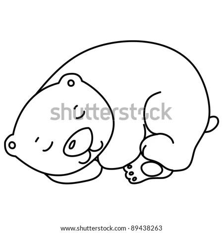 Little Cute Sleeping Bear Cartoon Line Stock Vector