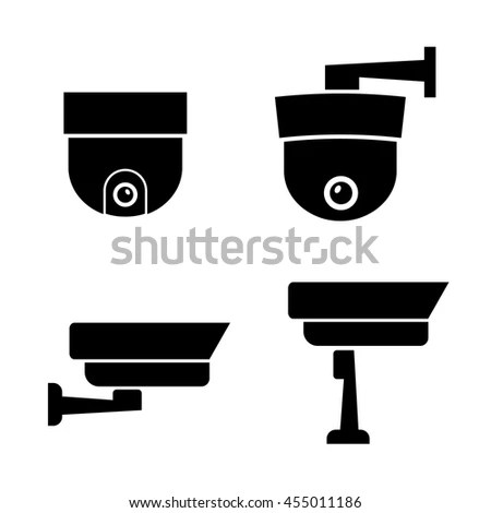 Video Surveillance Security Cameras Vector Eps Stock