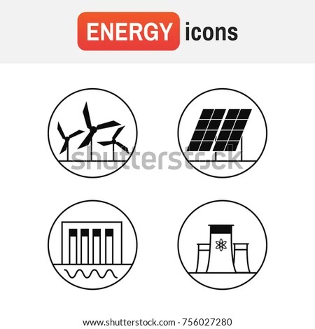 Generation Energy Types Power Plant Icons Stock Vector