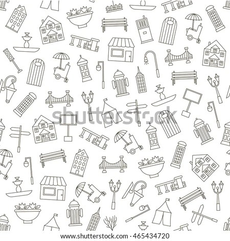Furniture Hand Drawn Seamless Pattern Modern Stock Vector
