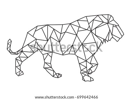 Low Poly Style Art Walking Lion Stock Vector (Royalty Free