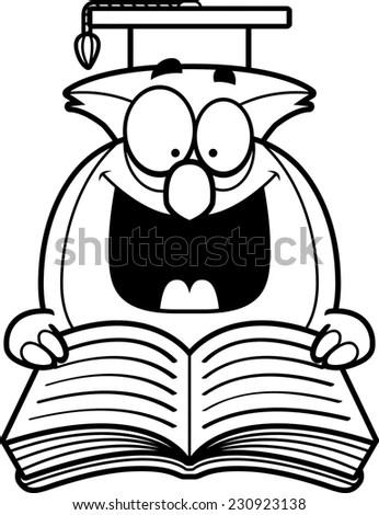 Outlined Owl Teacher Cartoon Character Reading Stock