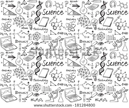 Science Doodle Seamless Background Stock Vector 181284800
