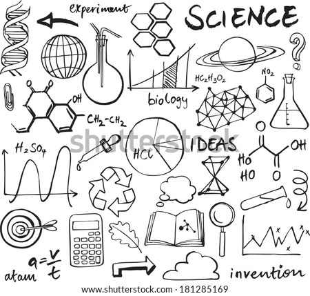 Science Icons Doodle Vector Set Stock Vector 181285169