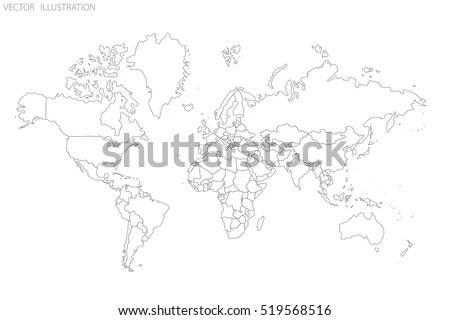 Political Map World World Map Outline Stock Vector