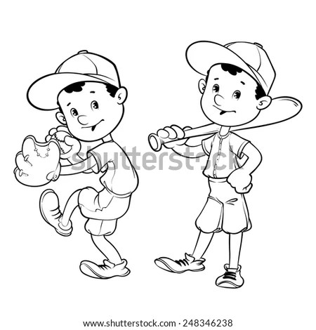 Baseball players outlined on a white background. Vector