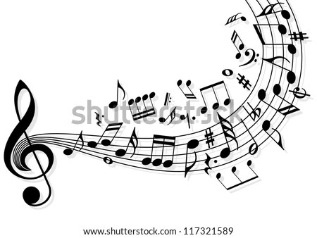 Musical Notes Flying Over Stave Stock Vector 117321589