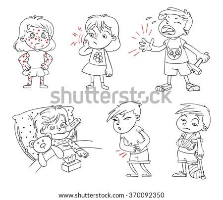 Children Get Sick Child Has High Stock Vector 370092350