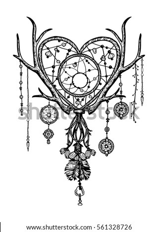 Hand Drawn Black White Boho Dreamcatcher Stock Vector