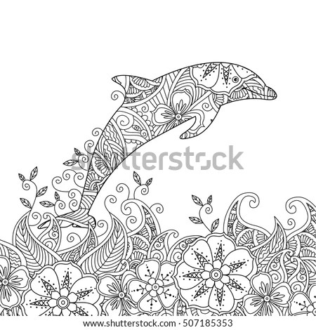 Coloring Page One Jumping Dolphin Sea Stock Vector