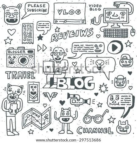 Blogging Activities Funny Doodle Cartoon Set Stock Vector