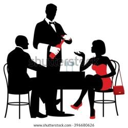 table restaurant sitting silhouettes vector waiter dining wine bottle drinking silhouette eating shutterstock opens dinner bar restaur food woman preview