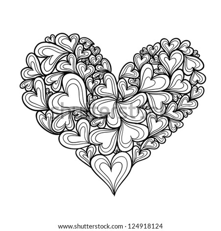 Hand Drawn Hearts Seamless Pattern Use Stock Vector