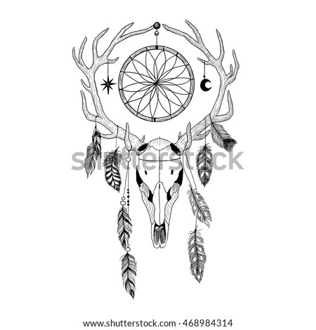 Watercolor Buffalo Skull Feathers Dreamcatcher Beaded