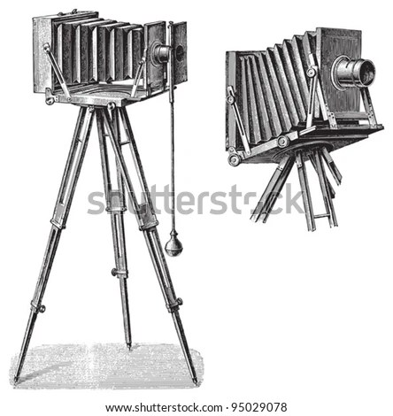 Old photo camera with tripod / vintage illustration from