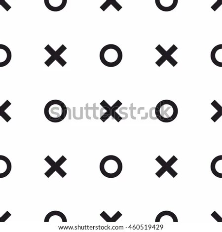 Tile X O Noughts Crosses Black Stock Vector 460519429