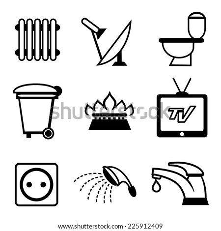 Utilities Icons Heating Water Supply Tv Stock Vector