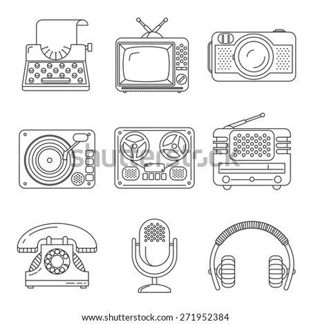 Retro Media Icons Flat Style Tv Stock Illustration