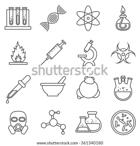 Scientific Experiments Chemistry Bio Technology Line Stock