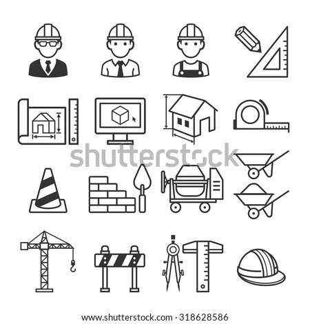 Architecture Construction Building Icon Set Vector Stock