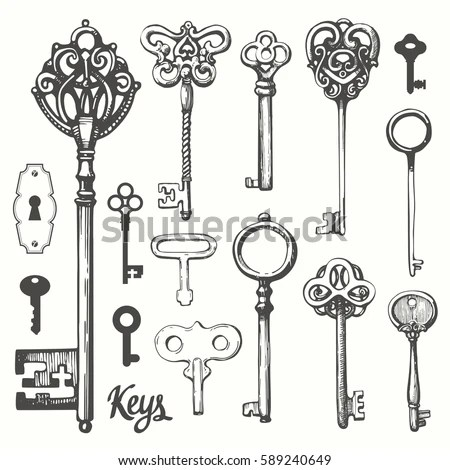 Vector Set Handdrawn Antique Keys Illustration Stock