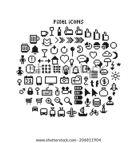 Pixel Icons Stock Images, Royalty-Free Images & Vectors