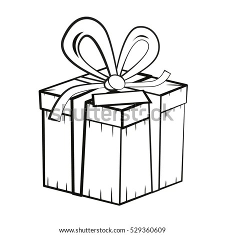 Gift Box Vector Outline Present Box Stock Vector 529360609