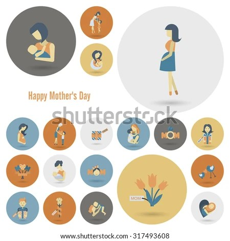 happy mothers day simple flat icons
