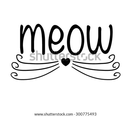 Cat Vector Design Tshirt Graphic Black White Meow Slogan