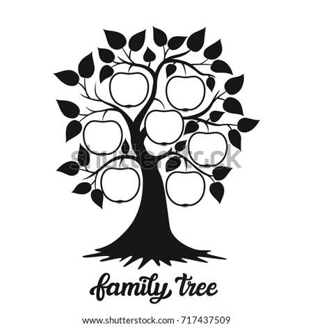 Family Tree Apple Tree Silhouette Hand Stock Vector