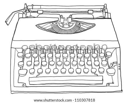 Cute Typewriter Vintage Line Art Stock Illustration