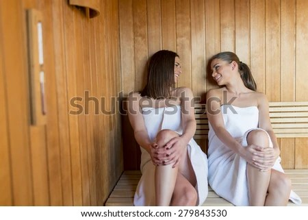 stock photo young women relaxing in sauna 279843530