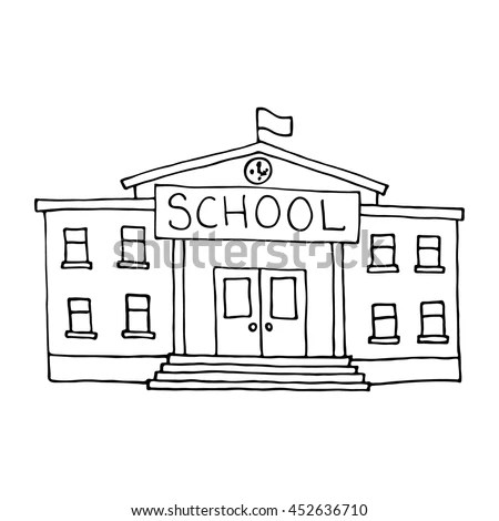 School Building Doodle Outlined On White Stock Vector