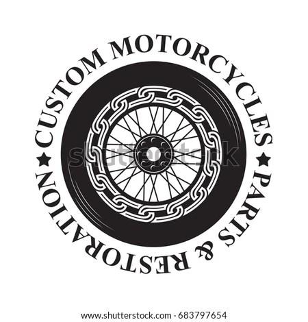 Motorcycle Emblem Monochrome Silhouette Style Logo Stock