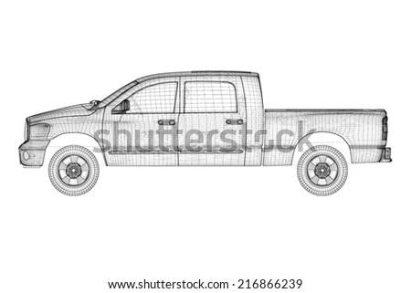 Pick Truck Model Body Structure Wire Stock Illustration