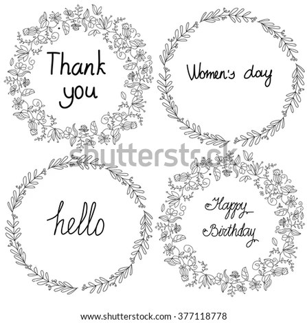 Vector Floral Set Branch Flower Wreaths Stock Vector
