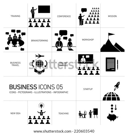 vector modern flat design business icons and illustrations