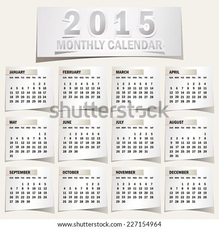 Simple 2015 Calendar 2015 Calendar Design Stock Vector