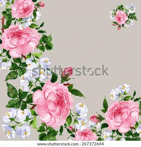 Chekmareva Irina39s quotwatercolor flowers jasmine and rose