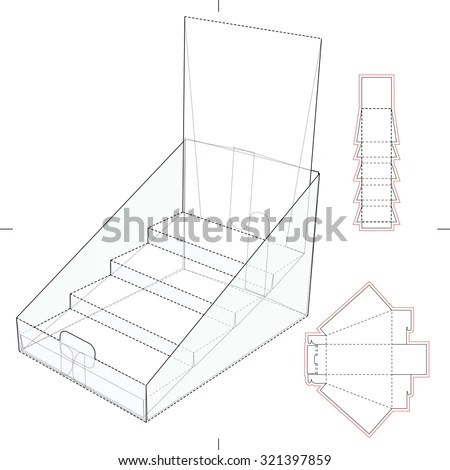 Product Display Advertisement Cardboard Stand Blueprint