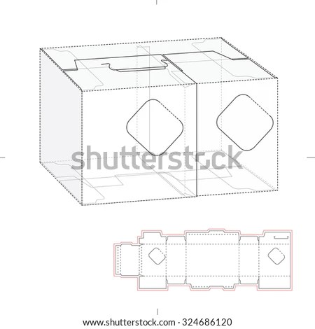 Tapered Square Fast Food Box Handles Stock Vector